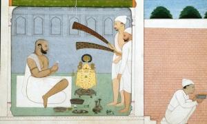 Mughal Painting of Raja Balwant Singh Performing Puja Jammu Pahari