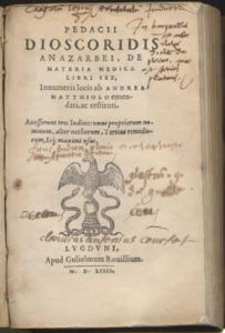 Title page of De Materia Medica by Pedanius Dioscorides, 1554. (Image: University of Virginia)