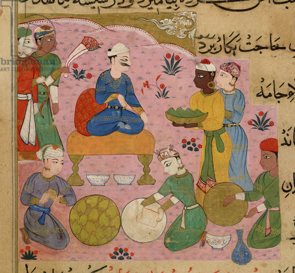 Preparation of betel for the Sultan Ghiyath al-Din, from The Ni'matnama-i Nasir al-Din Shah, 1495-1505 (opaque w/c on paper)